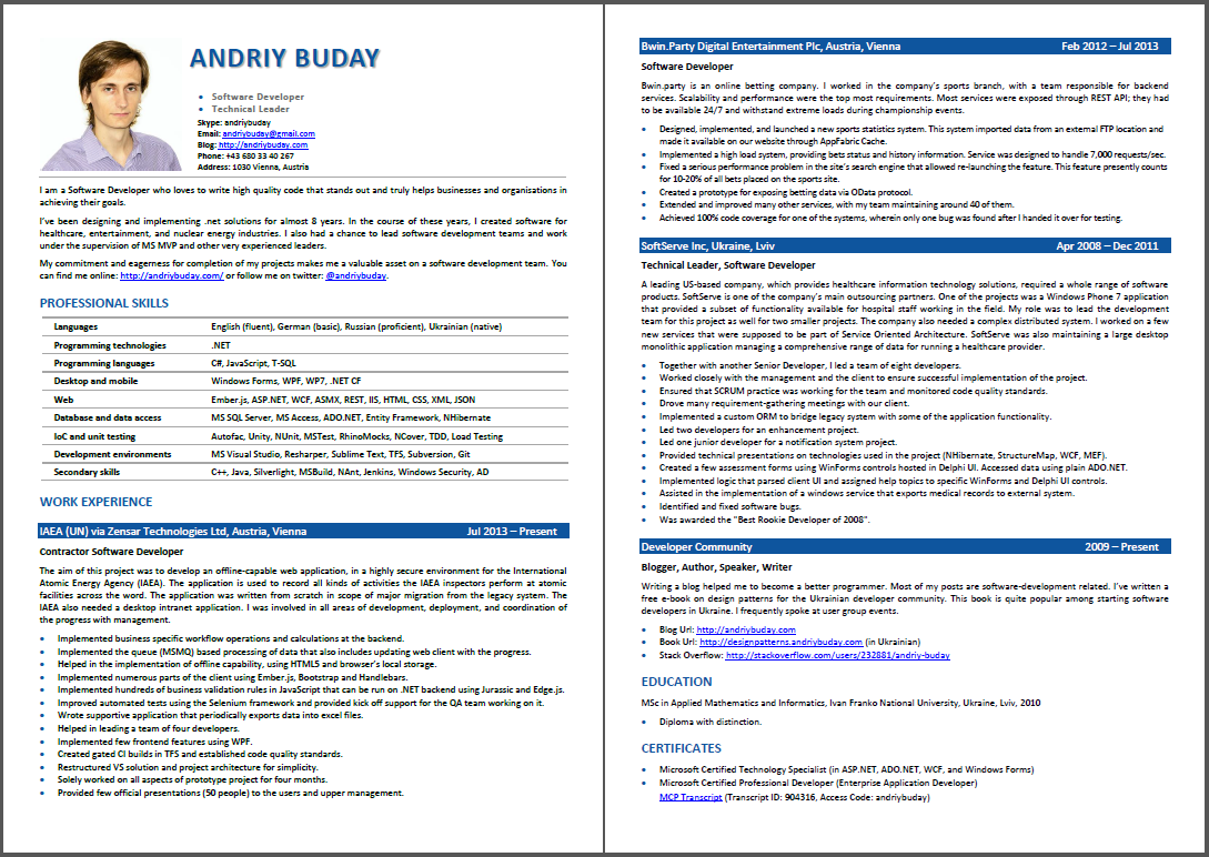Andriy Buday's CV screenshot